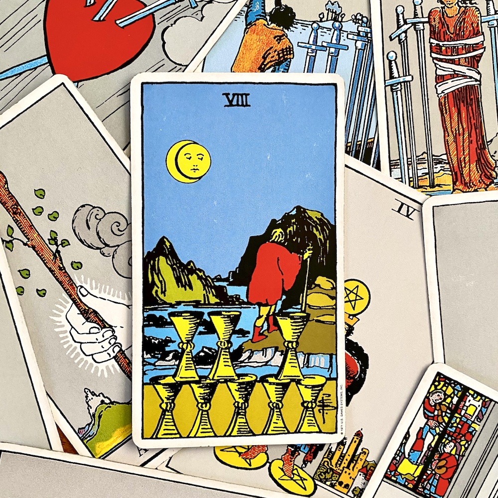 Eight of Cups in Rider Waite Smith Tarot Deck