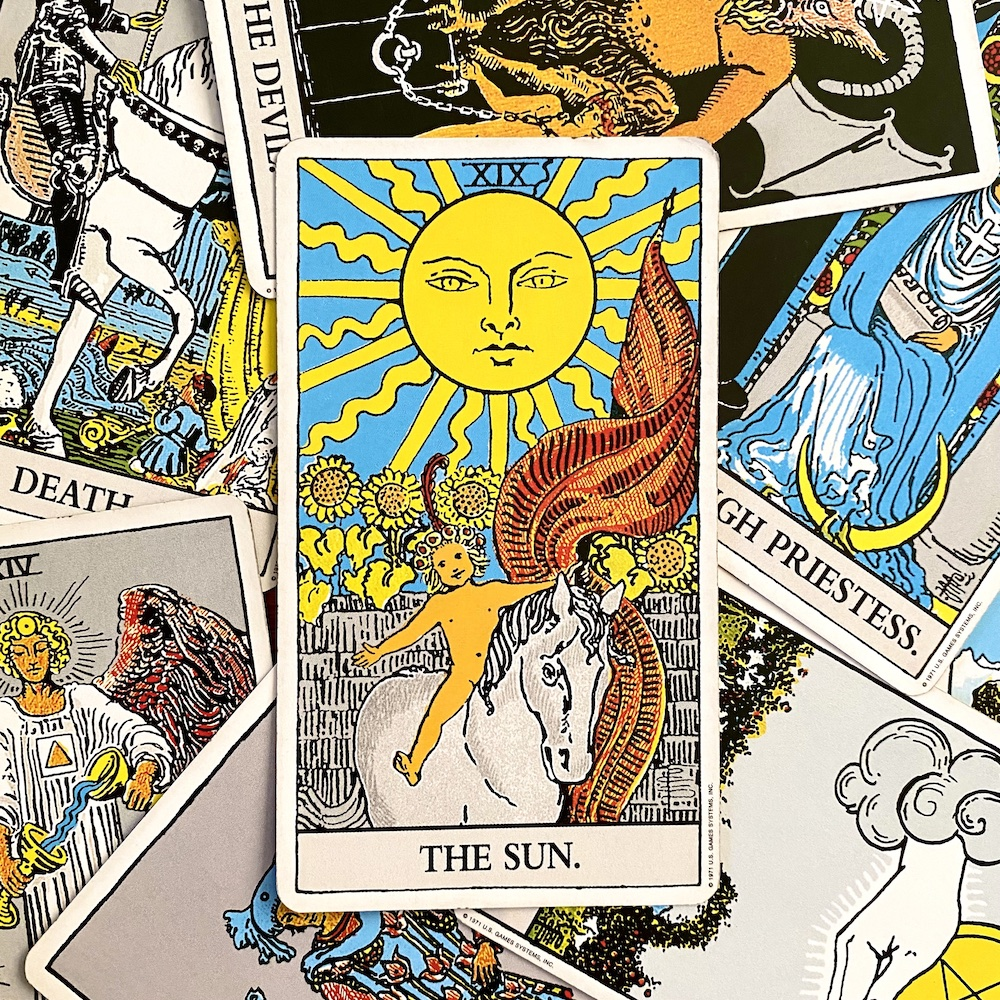 The Sun in the original Rider Waite Smith tarot deck