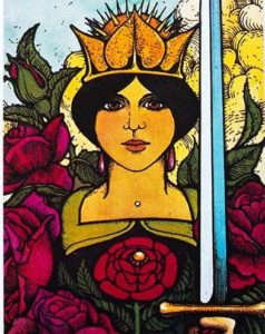 Queen of Swords tarot card from Morgan Greer tarot deck