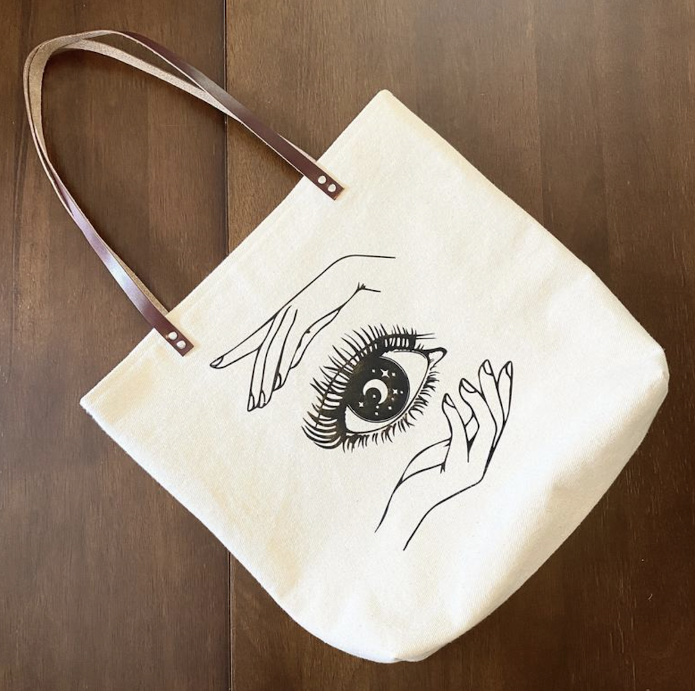 Mystical Eye Design Tote by Kat Forhan Design on Etsy | The Ultimate Graduation Gift Guide for the New Age Witchy Grad by Happy As Annie