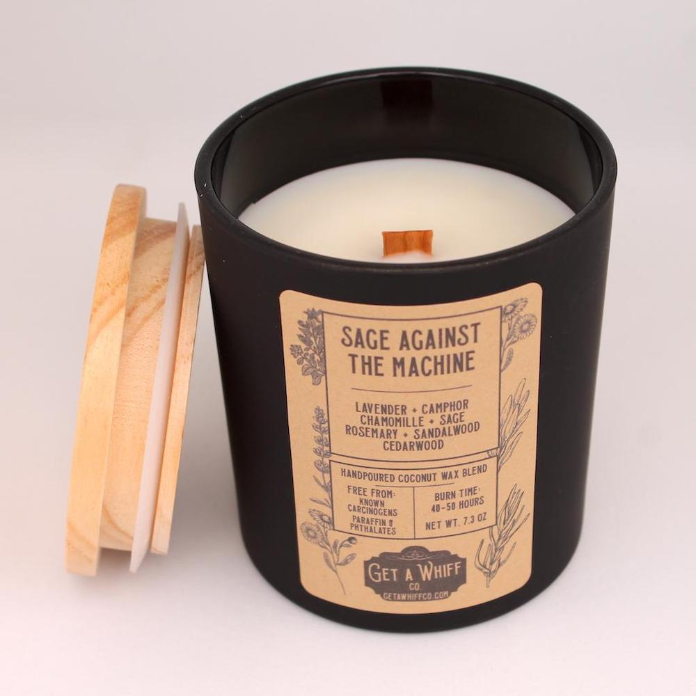 Sage Against the Machine Candle by Get A Whiff Co. | The Ultimate Graduation Gift Guide for the New Age Witchy Grad by Happy As Annie